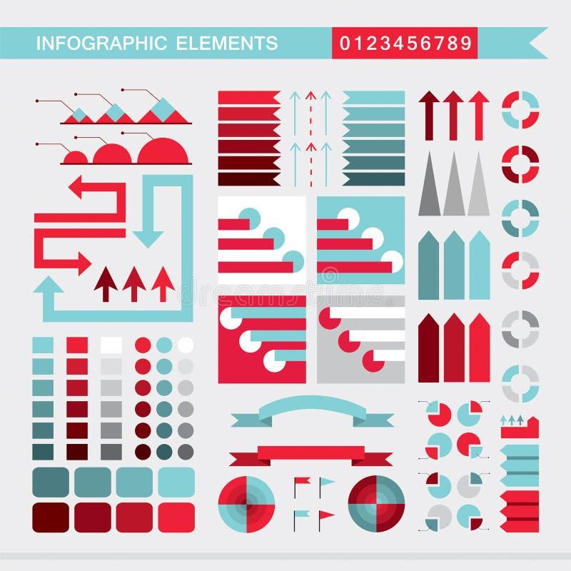 Placez des diagrammes d'éléments, du graphique, du diagramme, des flèches, des signes, des barres, des boutons, des frontières in illustration stock