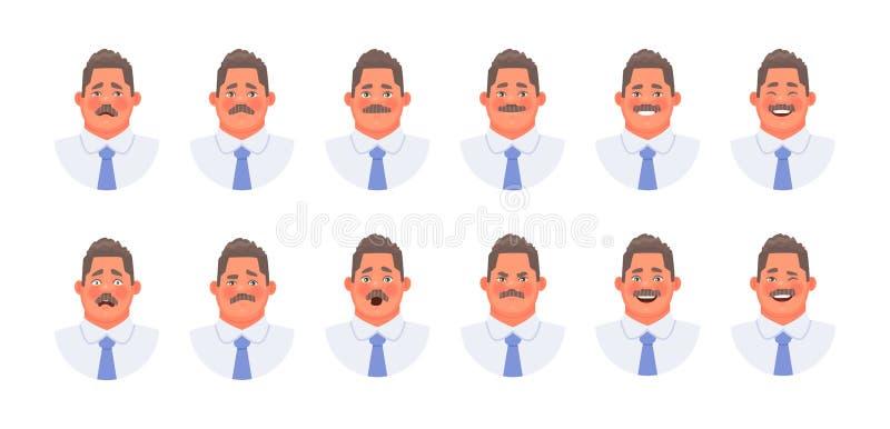 Placez des différentes émotions d'un homme d'affaires de caractère ou d'un commis de bureau Expressions du visage d'homme de mous illustration de vecteur