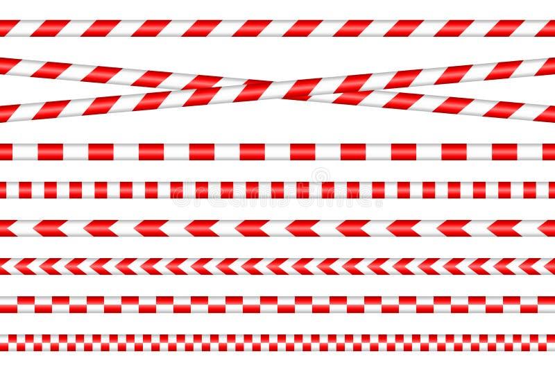 Placez des différentes bandes de barrière rouge et blanc illustration de vecteur