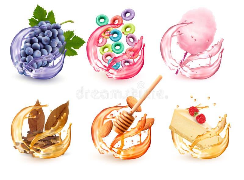 Placez des différentes saveurs de produits dans l'éclaboussure de jus Raisins, céréale fruitée, sucrerie de coton, miel et amande illustration libre de droits