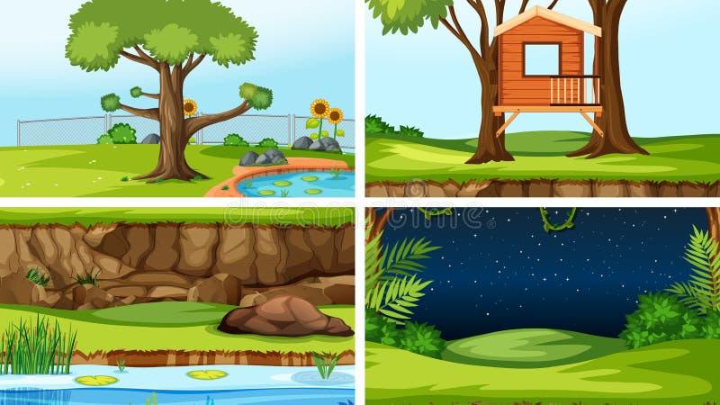 Placez des différentes scènes d'extérieur illustration de vecteur