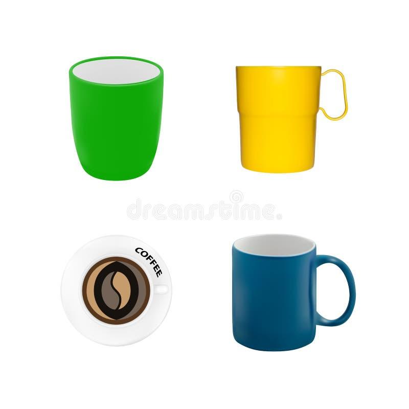 Placez des différentes tasses dans le vecteur illustration libre de droits