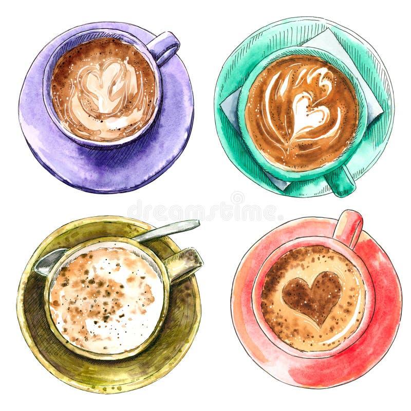 Placez des différentes tasses de café, illustration tirée par la main d'aquarelle photo libre de droits