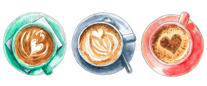 Placez des différentes tasses de café, illustration tirée par la main d'aquarelle photo stock