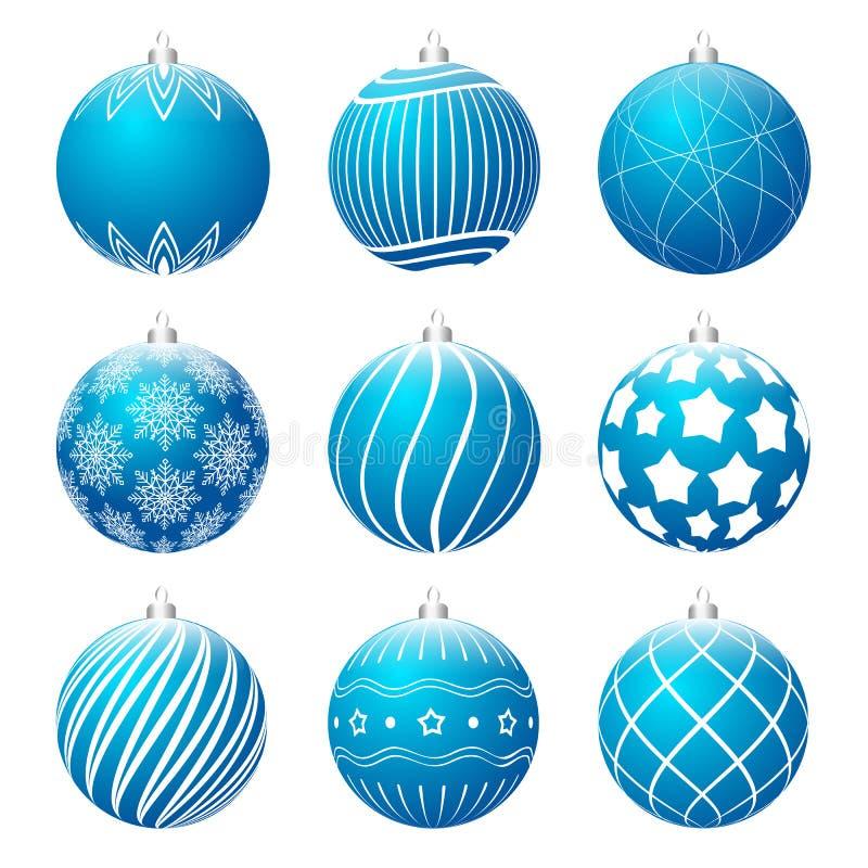 Placez des différentes textures de boules réalistes bleues de Noël Babiole de Noël décorée des modèles blancs illustration de vecteur