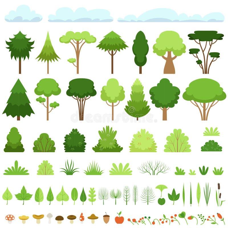 Placez des différents arbres, buissons, herbes, feuilles, champignons, pommes, baies et nuages Illustration de vecteur illustration libre de droits