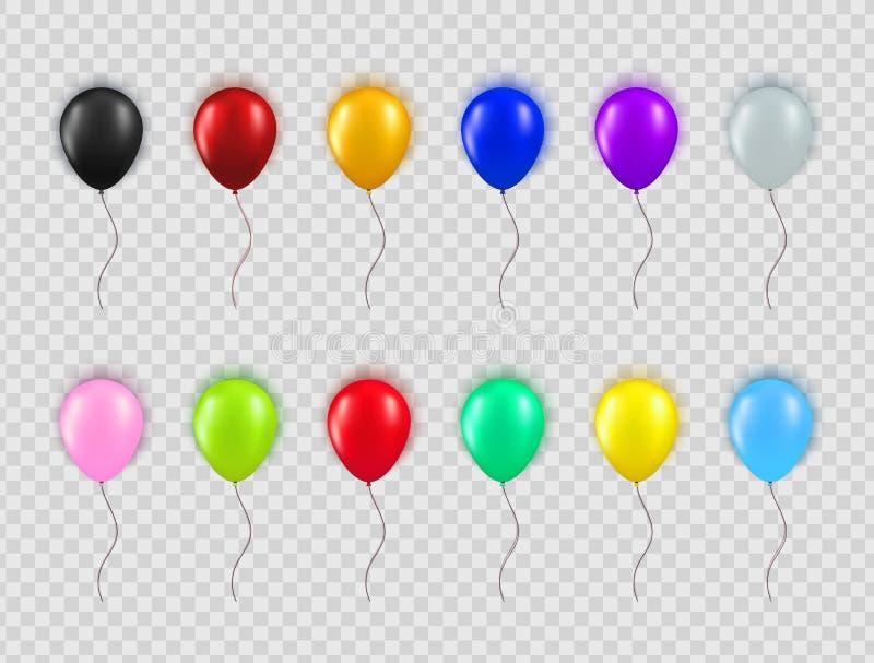 Placez des différents ballons réalistes de couleurs d'isolement sur le fond transparent Collection d'élément pour la fête d'anniv illustration stock