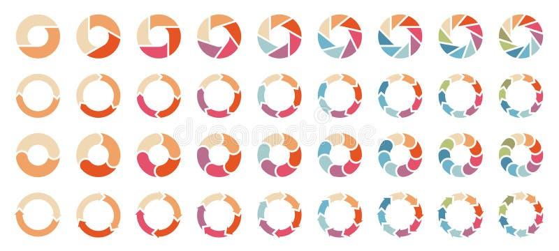Placez des différents diagrammes en secteurs avec de rétros couleurs de flèches illustration libre de droits