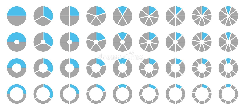 Placez des différents diagrammes en secteurs graphiques ronds Gray And Blue illustration de vecteur