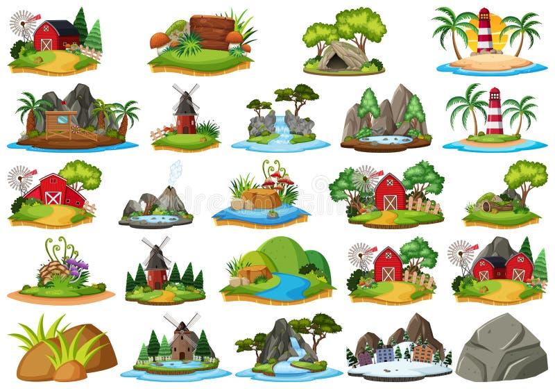 Placez des différents islandss de nature illustration libre de droits