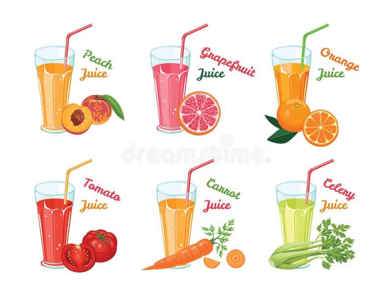 Placez des différents jus de fruits et légumes en verres illustration de vecteur