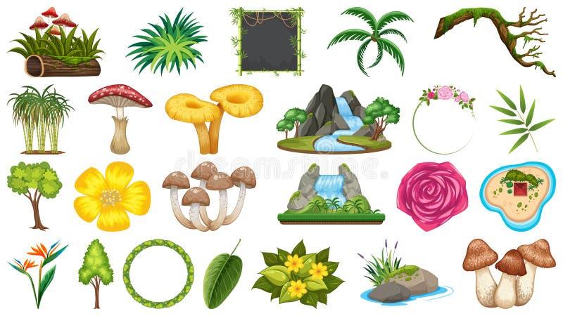Placez des différents objets de nature illustration stock