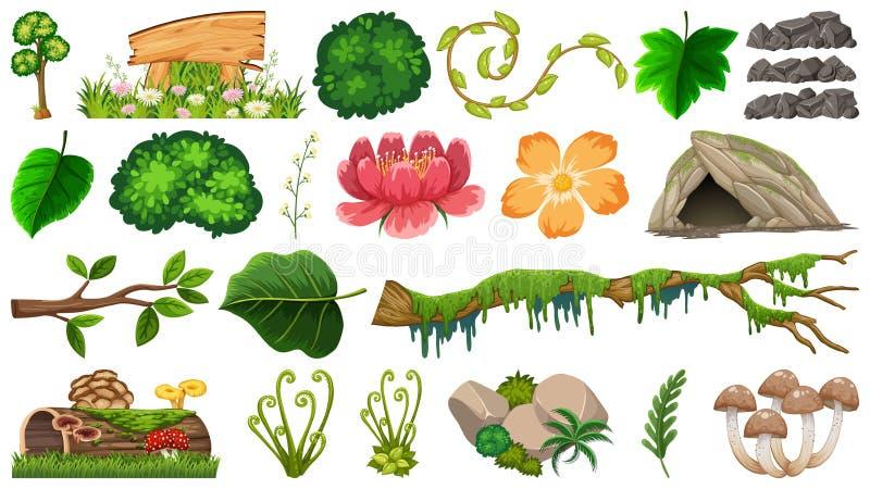Placez des différents objets de nature illustration de vecteur