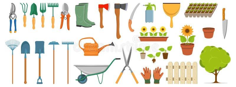 Placez des différents outils de jardinage, les articles de jardin de ressort, divers outils pour faire du jardinage, éléments de  illustration stock