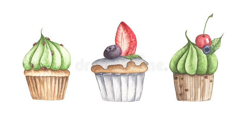 Placez des différents petits gâteaux d'isolement sur le fond blanc illustration libre de droits