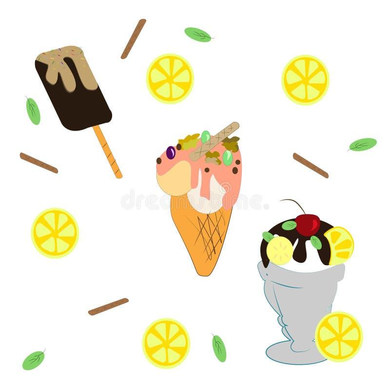 placez des différents types de crème glacée  illustration de vecteur