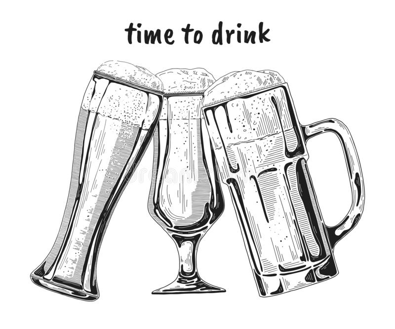 Placez des différents verres avec de la bière, différentes tasses de bière Illustration de vecteur illustration stock