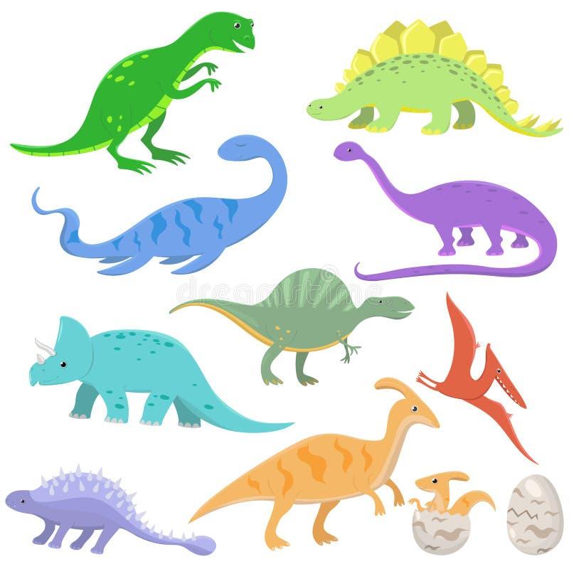 Placez des dinosaures de couleur dans le style de bande dessinée Illustration de vecteur d'isolement sur le fond blanc illustration de vecteur