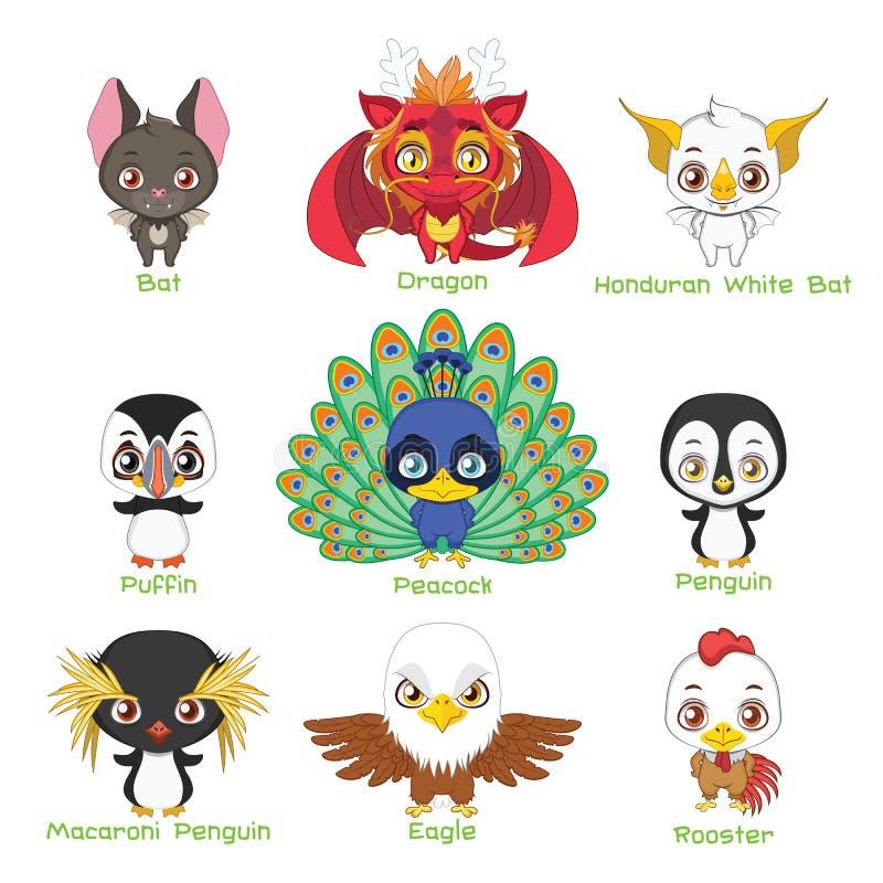Placez des divers animaux aviaires illustration libre de droits