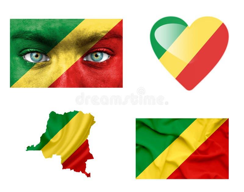 Placez des divers drapeaux du Congo illustration libre de droits