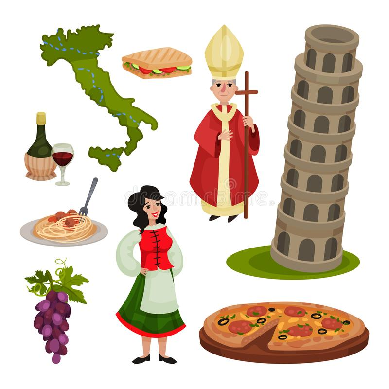 Placez des divers symboles de l'Italie Illustration de vecteur illustration libre de droits