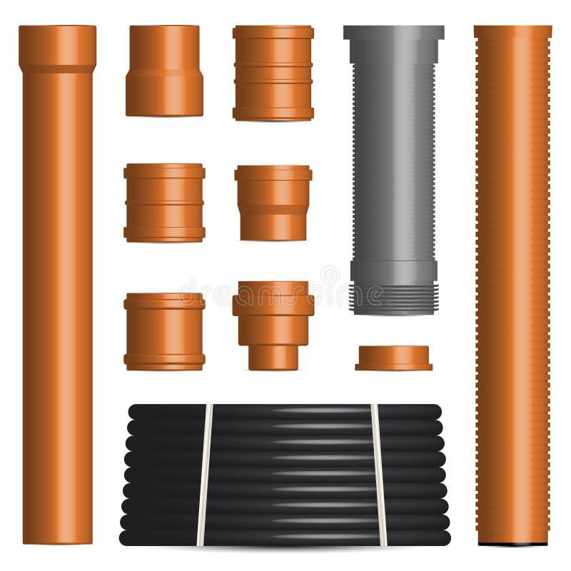 Placez des divers tuyaux et connecteurs en plastique, illustration de vecteur illustration stock