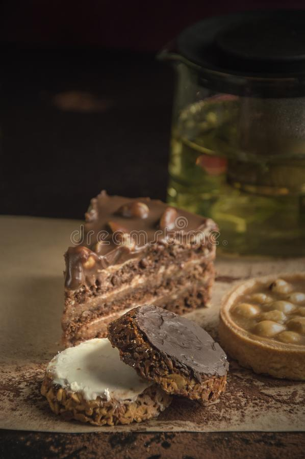 Placez des diverses pâtisseries texture crémeuse croustillante et crémeuse photos libres de droits