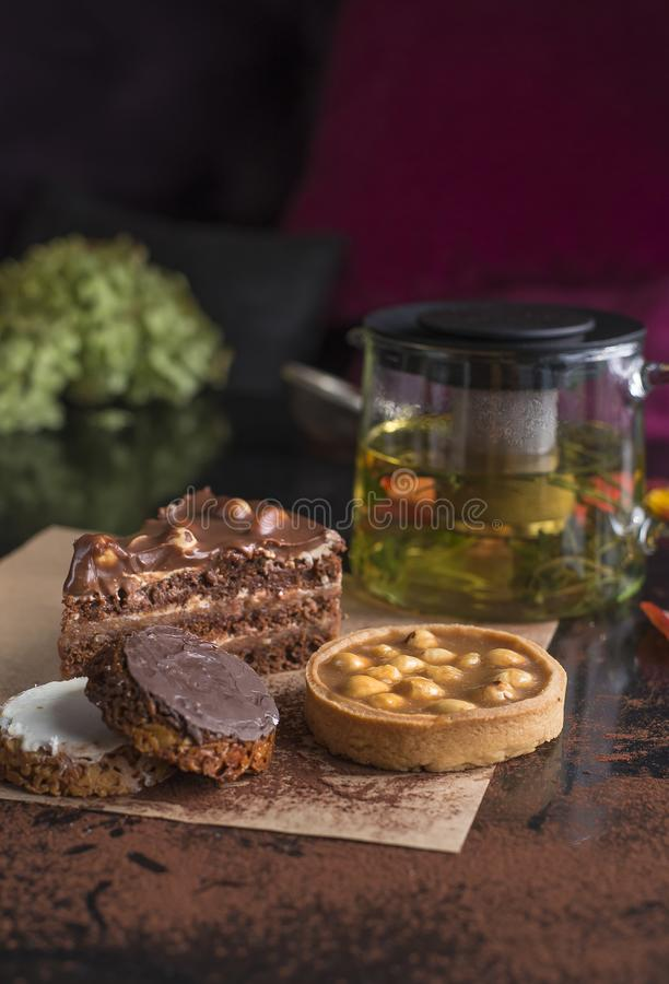Placez des diverses pâtisseries texture crémeuse croustillante et crémeuse photo stock