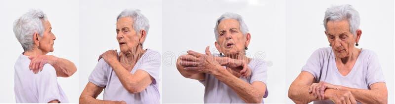Placez des douleurs supérieures de femme sur le backgoround blanc photo stock