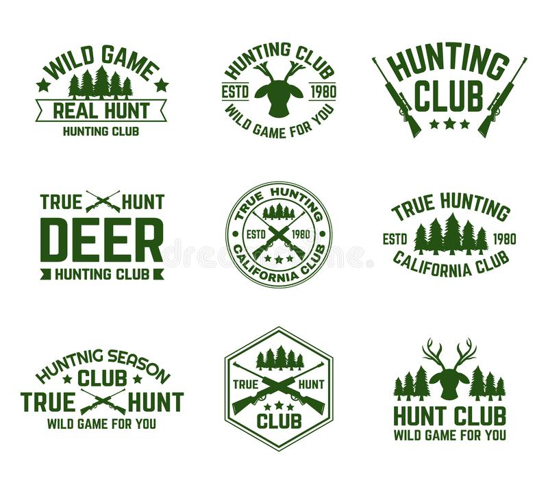 Placez des emblèmes de chasse d'isolement avec des cerfs communs et des armes à feu illustration libre de droits