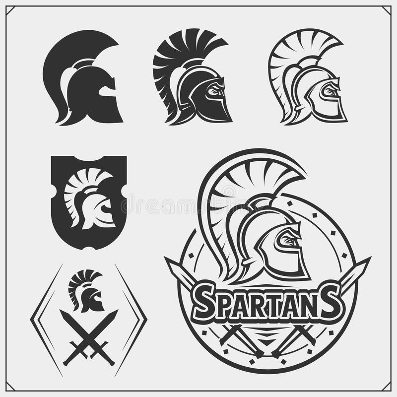 Placez des emblèmes et des labels de spartans Éléments et calibres de conception de club de sport Guerriers antiques, esprit spar illustration stock