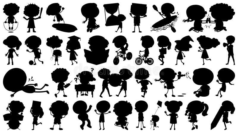 Placez des enfants de silhouette faisant différentes choses illustration stock