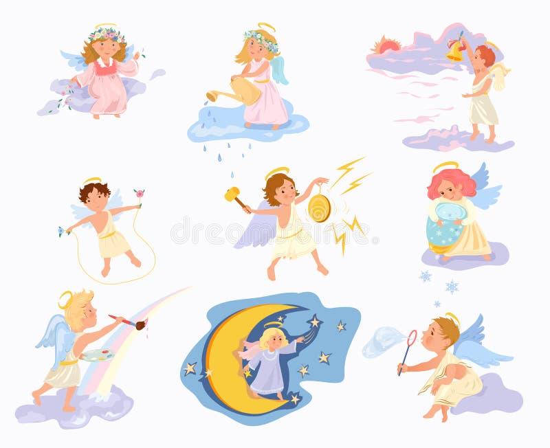 Placez des enfants de sourire d'ange mignon, heureux et bel illustration stock