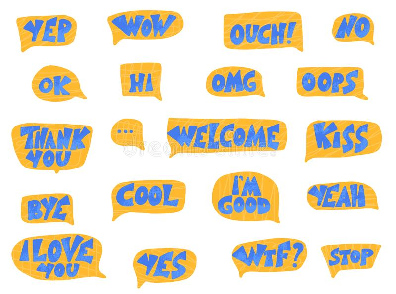 Placez des expressions courtes Illustration de couleur de vecteur illustration de vecteur