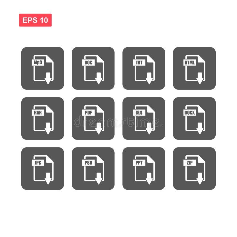 Placez des extensions du fichier simples dirigent d'isolement illustration de vecteur