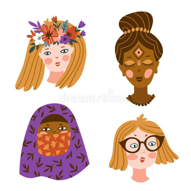 Placez des filles de différentes nationalités et religions caractères mignons et drôles Illustration de vecteur illustration de vecteur