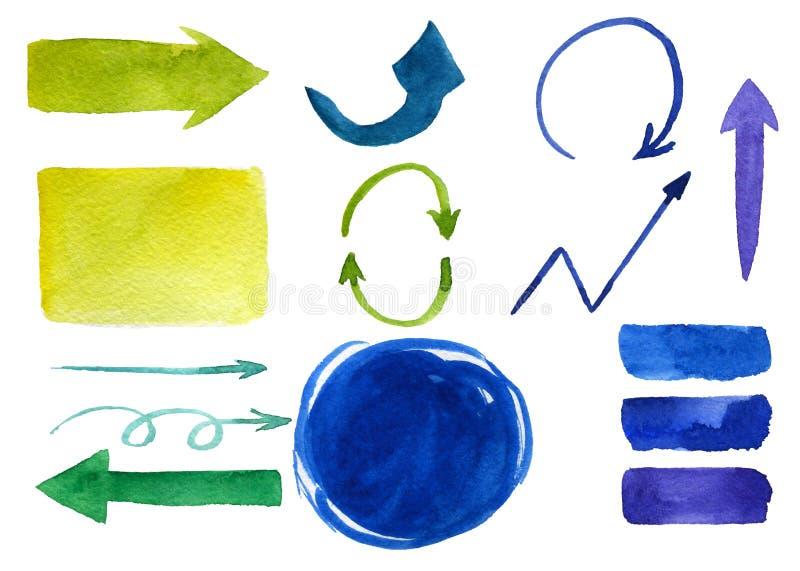 Placez des flèches vertes et bleues de la diverses taille et forme illustration libre de droits