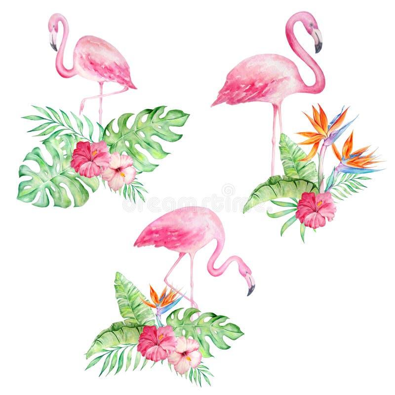 Placez des flamants d'aquarelle avec les fleurs tropicales illustration de vecteur