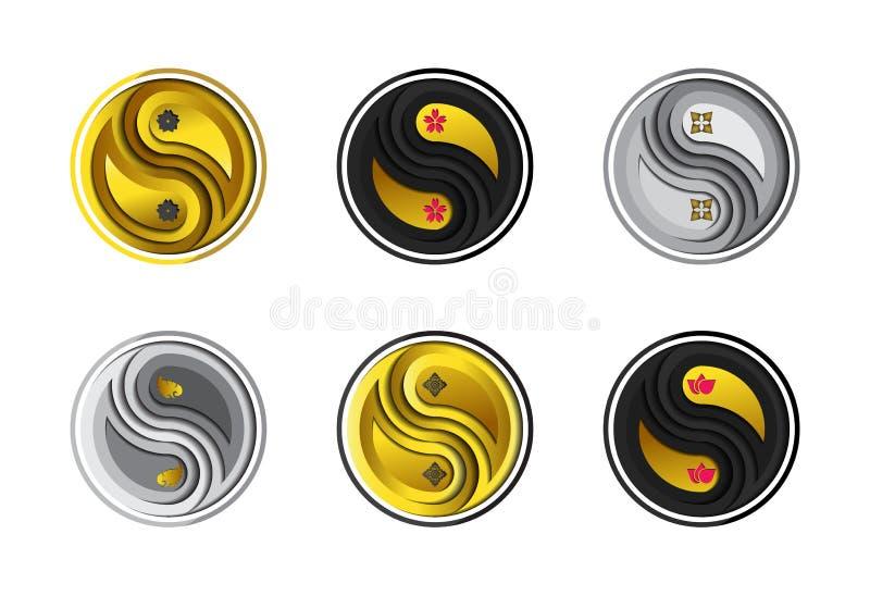 Placez des fleurs symboliques en style de coupe de papier d'emblème de Yin Yang illustration libre de droits