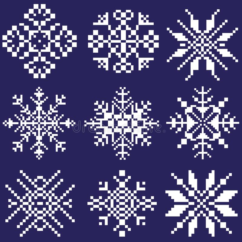 Placez des flocons de neige blancs de différentes formes sur un fond bleu dessiné par des places, pixels Un élément d'ornement da illustration stock