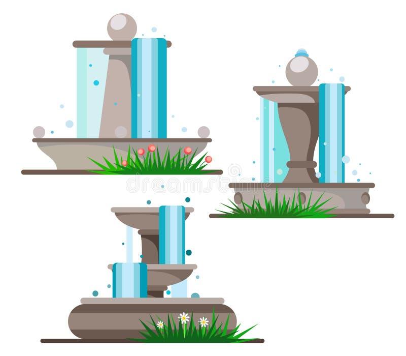 Placez des fontaines sur un fond blanc envahi avec les fleurs et l'herbe illustration libre de droits