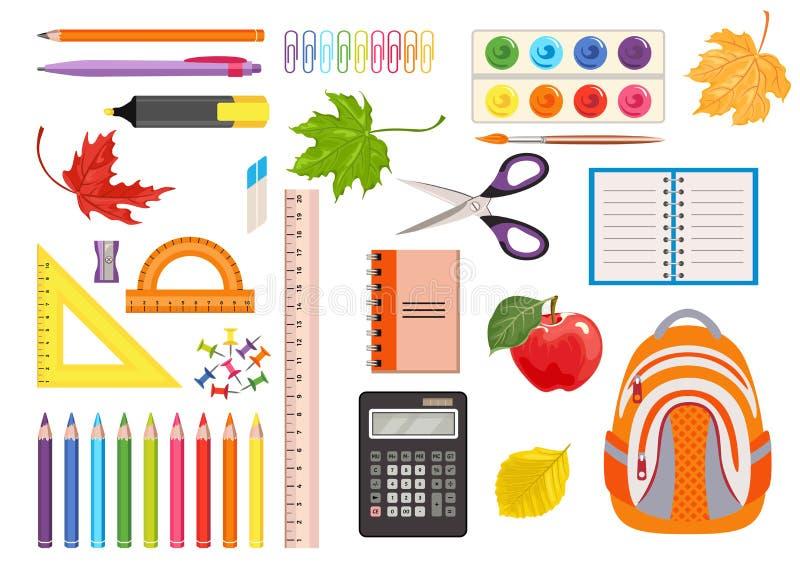 Placez des fournitures de bureau d'?cole et Icônes de couleur des outils pour écrire, dessin, apprenant illustration libre de droits