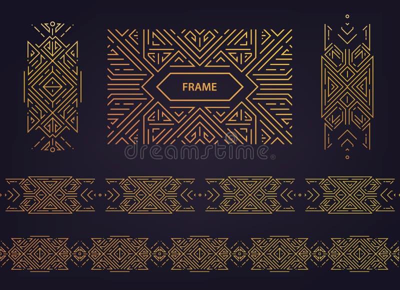 Placez des frontières d'or d'art déco de vecteur, cadres Calibres créatifs dans le style des années 1920 couverture à la mode, af illustration de vecteur