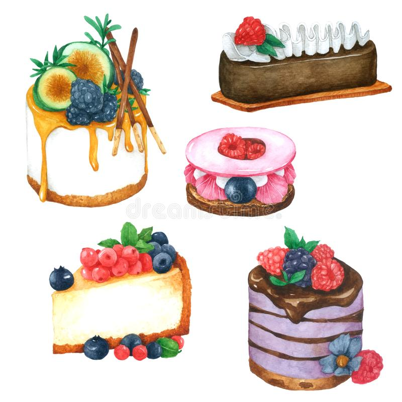 Placez des g?teaux d'aquarelle Tir? par la main pour la carte de voeux, l'emballage, la boutique de boulangerie et plus illustration de vecteur