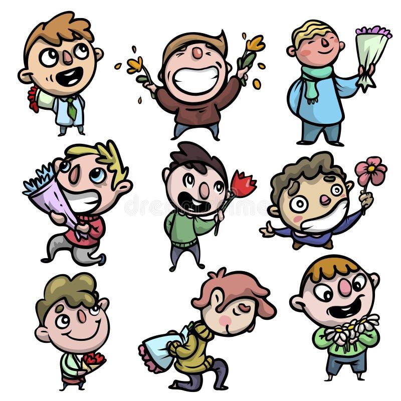 Placez des garçons de sourire heureux avec le bouquet coloré de fleurs illustration stock