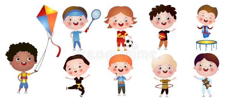 Placez des garçons mignons drôles avec différents activités et passe-temps d'isolement sur le fond blanc illustration libre de droits