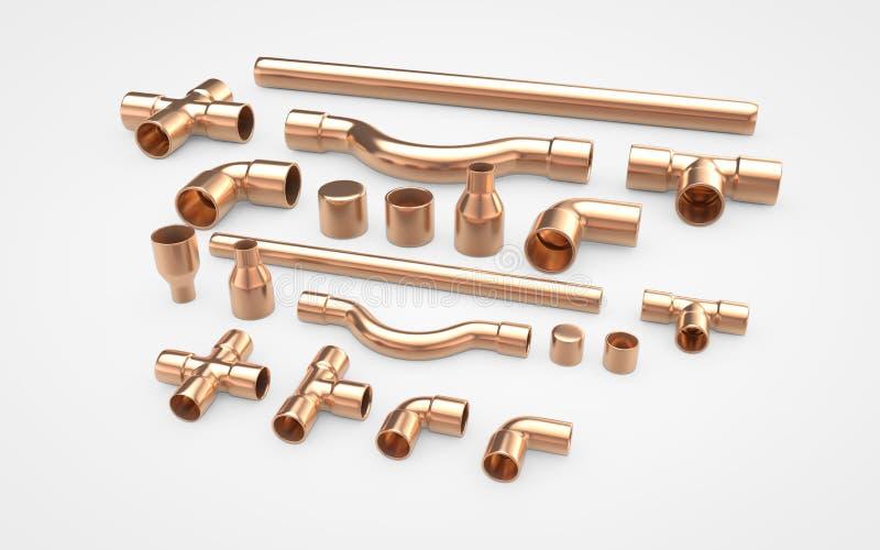 Placez des garnitures de tuyaux de cuivre rendu 3D d'isolement sur le blanc illustration de vecteur