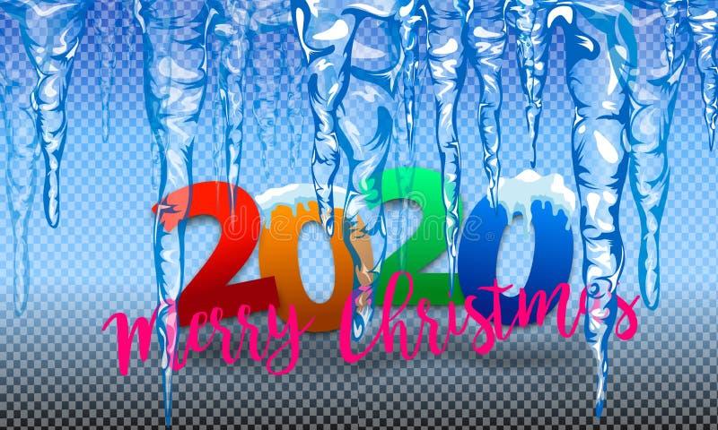 Placez des gla?ons bleu-clair translucides 2020 sur le fond transparent Transparent seulement dans le dossier de vecteur Collecti illustration libre de droits