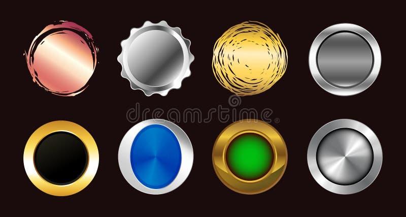 Placez des grands boutons multicolores réalistes illustration stock