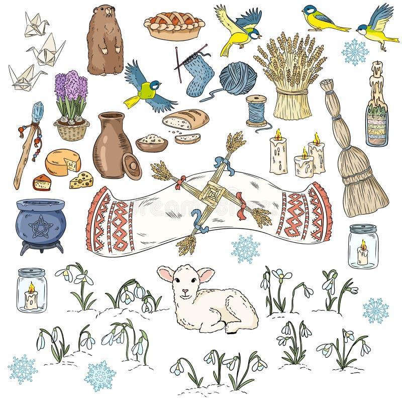 Placez des griffonnages color?s de ressort Commencer des symboles de ressort Griffonnages wiccan de croquis de vacances d'Imbolc  illustration libre de droits